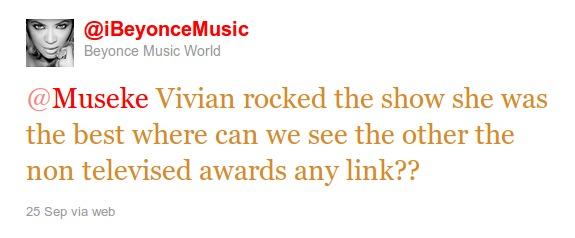 African Music Awards : Beyoncé tombe sous le charme de Viviane