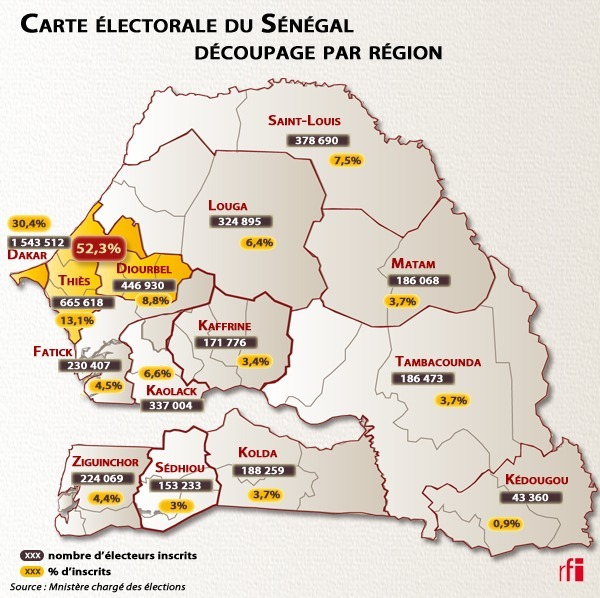 PRESIDENTIELLE 2012 : LA CARTE ELECTORALE DU SENEGAL