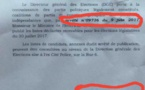 Encore une erreur dans les documents de la direction générale des élections (Images)